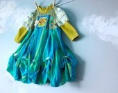 Upcycled Toddler Dress Green 1T 2T Teal Lime Ducklings Baby Blue 'Quack Pack'