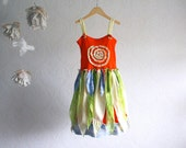 RESERVED For Jennifer-------------Children's Clothing Rainbow Fairy Dress 5T Upcycled Petals Pixie Sundress Leaves Red Toddler
