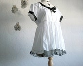 Black and White Babydoll Top Women's Medium Large Upcycled Clothing Shirt Eco Fashion Clothes 'BELLA'