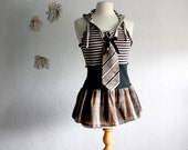 Women's Brown Top Upcycled Clothing Shirt Black Striped Hood Hoodie Necktie Large 'PHOEBE'