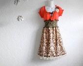 Bohemian Dress Coral Brown Boho Clothing Women's Upcycled Fringe Peasant Green Anthropologie Large 'JOCELYN'