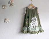 Upcycled Toddler's Dress Girl's 5T Children's Clothing Green Trees A-Line Eco Friendly 'OLIVE TREE'