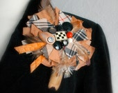 Large Flower Brooch Burberry Plaid Lapel Pin Upcycled Fabric Jewelry Black Brown Flower Feathers Buttons