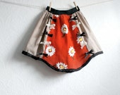 Upcycled Girl's Skirt 10 11 Red Black Bows Tween Clothing Daisy Flowers Eco Friendly Children's Wear