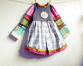 Girl's Bohemian Babydoll Top 10 11 Upcycled Children's Tween Clothing Hippie Plaid Peasant Bell Sleeves 'NOELLE'