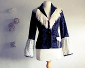 Reserved for Kathy-------------Shabby Chic Fringe Jacket Blazer Black Brocade Cream Lace Women's Upcycled Clothing Small 'VERONIQUE'
