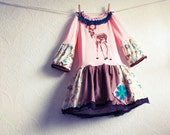 Toddler's Upcycled Dress 3T Pink Brown Deer Fawn Girl's Lace Bell Sleeve Bohemian Children's Clothing 'SUMNER'