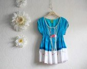 Turquoise Blue Bohemian Top Women's Clothing Upcycled White Peasant Shirt Hippie Boho Chic Medium 'DAISY CHAIN'