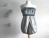 Women's One Shoulder Top Black Gray Cream Mod Shirt Sleeveless Tank Industrial Upcycled Clothing Medium Large 'MEHNDI'