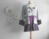 Women's Gray Upcycled Shirt XL Purple Bohemian Style Top Eco Friendly Black Bell Sleeves Recycled Ladies Clothes 'VIOLA'