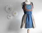 Women's Upcycled Mini Dress Ladies Clothing Blue Denim Brown Eco Friendly XS Small 'MONIQUE'