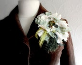 Large Fabric Brooch Upcycled Jewelry Lapel Pin Green Beige Linen Flower Vintage Buttons