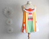 Upcycled Plus Size Tank Top 2X Peach Bohemian Shirt Green Patchwork Tunic Women's Clothing Eco Friendly Clothes 'SHARENE'
