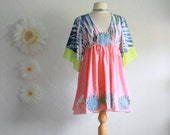 Bohemian Hippie Top Blue Upcycled Shirt Empire Waist Pink Tunic Green Kimono Sleeves Women's Clothing Medium Large 'BREEZY'