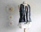 Women's Gray Vest Black Wool Top Corset Ties White Vintage Lace Upcycled Clothing Eco Fashion Medium 'JENNI'