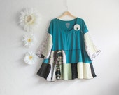 Teal Green Plus Size Shirt 4X Women's Clothing Bohemian Top Boho Tunic Upcycled Clothes Wearable Art Ladies Wear 'ZENA'