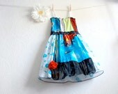 Girl's Upcycled Superman Dress 5 - 6 Turquoise Blue Superhero Sundress Children's Clothing Recycled Clothes Red 'BRYNN'