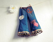 Toddler Girl's Bohemian Bell Bottom Jeans 4T Upcycled Clothing Children's 70's Hippie Pants 'TEIGAN'