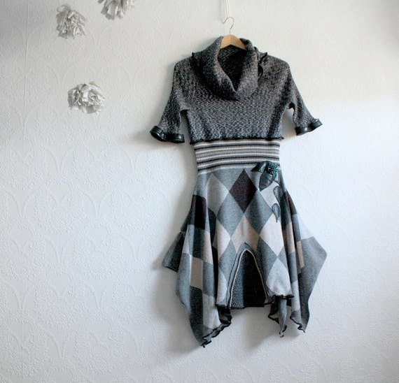 Gray Wool Dress Upcycled Clothing Women's Small Mod Argyle Cowl Eco Fashion OOAK 'CHICOUTIMI'