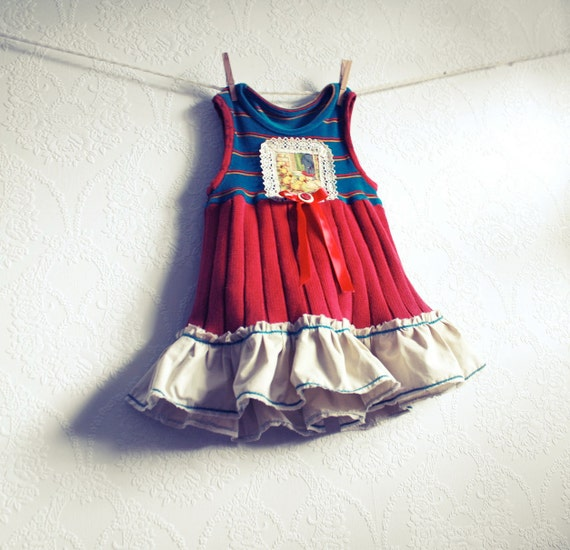 Toddler's Jumper Dress 2T Teal Burgundy Ruffle Lace Ducks Girl's Upcycled Children's Clothing 'OLIVIA'