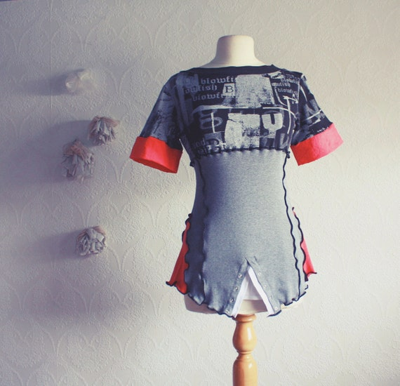 Upcycled Gray Top Upcycled Mod Black Shirt Coral Red T-Shirt Women's Clothing Ladies Clothes Medium Large 'SHARPIE'