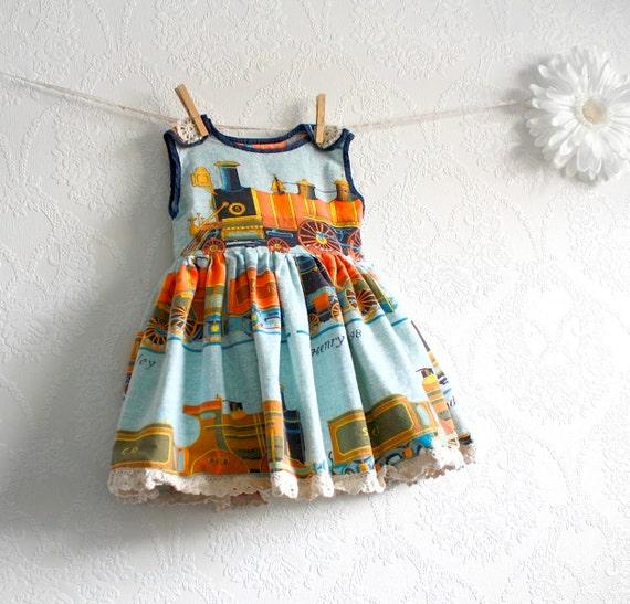 Blue Trains Baby Dress 9 to 12 Months Vintage Fabric Orange Jumper Toddler Dress 'CHUG ALONG'