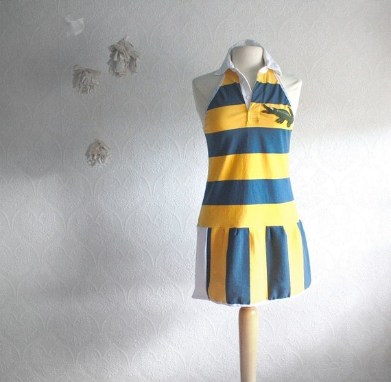 Upcycled Yellow Polo Dress Women's Clothing Preppy Style Summer Sundress Navy Striped Lacoste Crocodile Size Eco Fashion Small 'GOLF ANYONE'