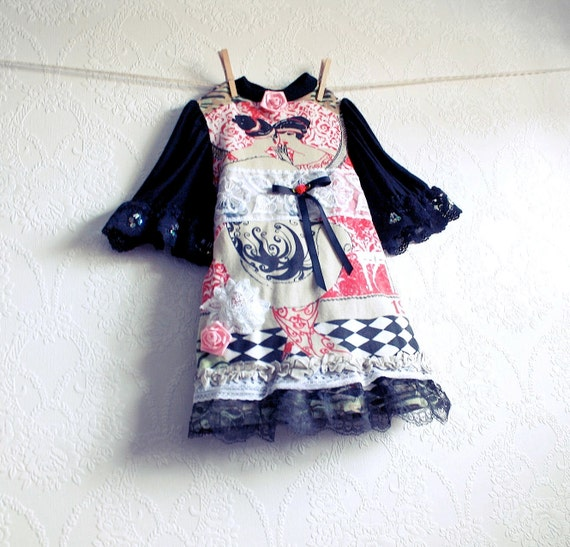 Toddler's Upcycled Dress 1T 2T Pink Black Lace Girl's French Paris Children's Clothing 'ANNETTE'