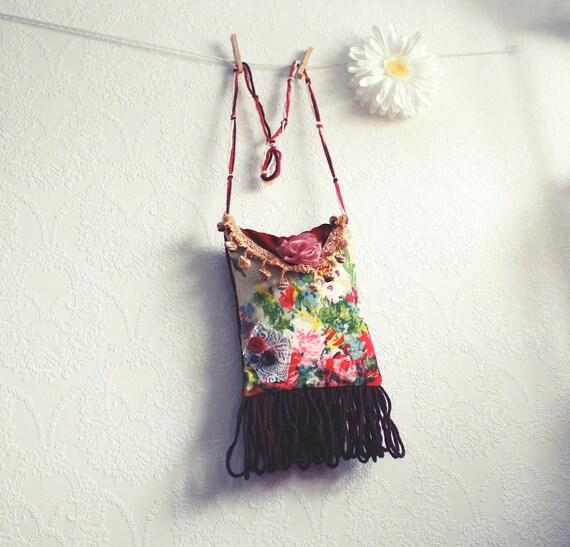 Shabby Chic Bag Burgundy Brown Bohemian Purse Fringe Shoulder Handbag 70's Style 'KATY MAY'