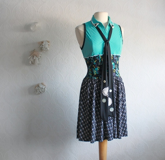 Upcycled Bohemian Dress Black Teal Women's By