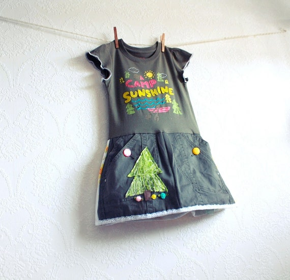 Toddler's Upcycled Dress 3T Olive Green Yellow Pink Camping Woodland Girl's Children's Clothing 'EVERGREEN'