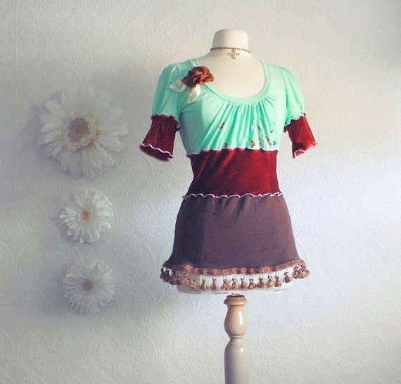 Upcycled Bohemian Top Burgundy Shirt Upcycled Clothing Women's Mint Green Tunic Brown Boho Chic Fringe Ladies Clothes Medium 'ANNABELLE'