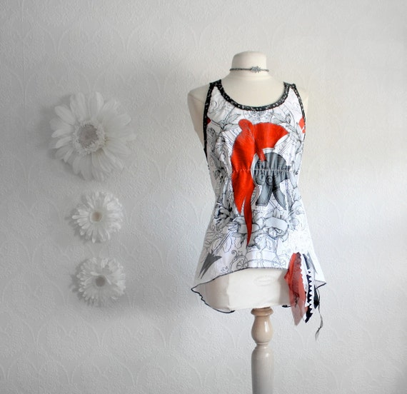 Upcycled White Tank Top Black Rocker Chick Shirt Red Backless Top Eco Friendly Recyled Fabric Women's Clothing Medium Large 'RENATA'