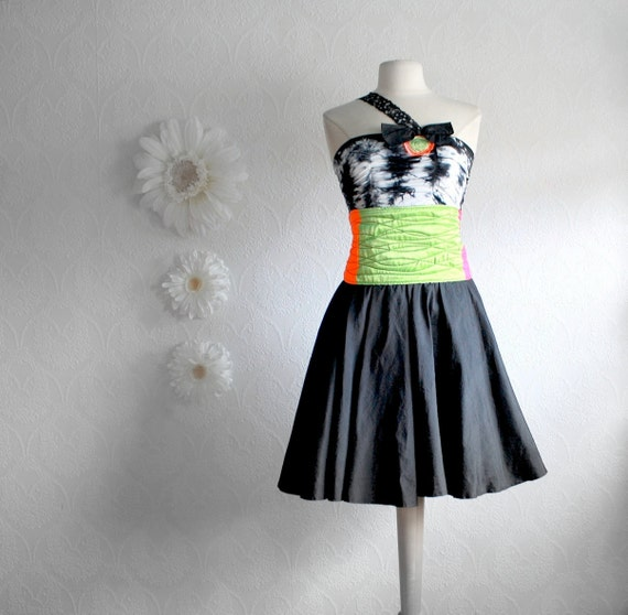 Little Black Dress Neon Colorblock Upcycled Clothing Lime Pink Cocktail Dress Retro Style Women's Clothes Neon Fashion Small 'TIFFANY'