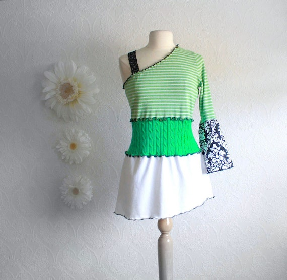 Green Upcycled Top Women's White One Shoulder Shirt Ladies Tunic Top Eco Friendly Clothing Bohemian Style XLarge XL 'VIENNA'