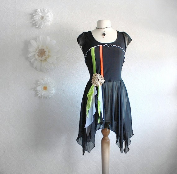 Long Black Tunic Top Upcycled Clothing By BrokenGhostClothing