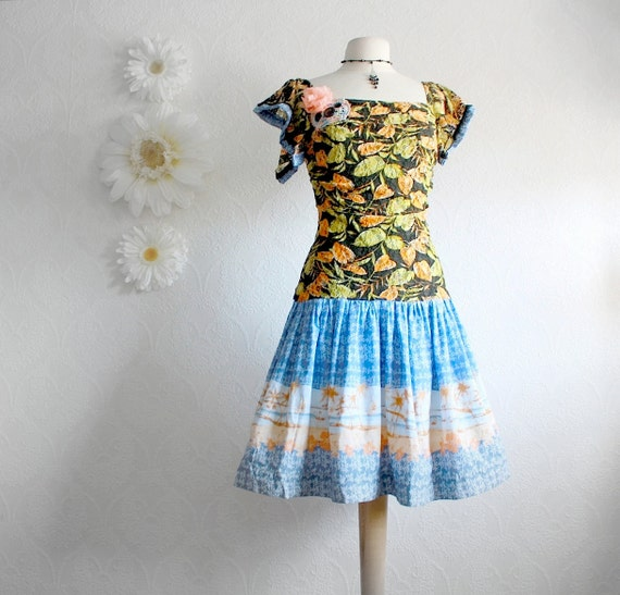 Women's Upcycled Floral Dress Peach Blue Black Drop Waist Dress Flutter Sleeves Ladies Clothing Small 'MEG'