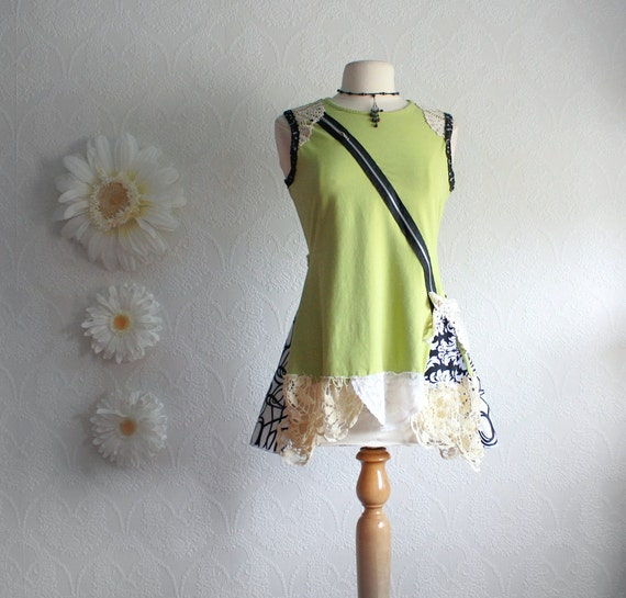 Upcycled Women's Lime Green Bohemian Top Eco Friendly Vintage Lace Shirt Zipper Black Tunic Ladies Clothing Medium 'DANIELLE'