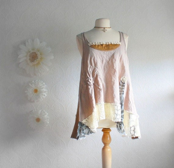 Plus Size Tunic Top 1X Wearable Art Shirt Bohemian Taupe Brown Tank Women's Clothing Upcycled Clothes Eco Fashion 'CAMILLA'