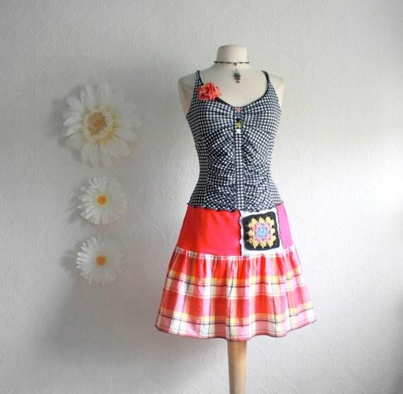 Pink Upcycled Dress Black and White Sundress Plaid Checkered Drop Waist Women's Clothing Eco Friendly Clothes Medium 'PHOEBE'
