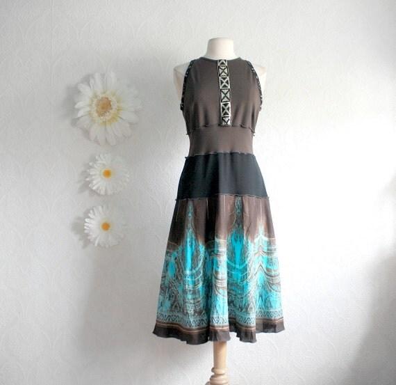 Women's Brown Dress Turquoise Sundress Upcycled Clothing Eco Fashion Summer Western Style Ladies Clothes Size Medium Large 'RACHEL'