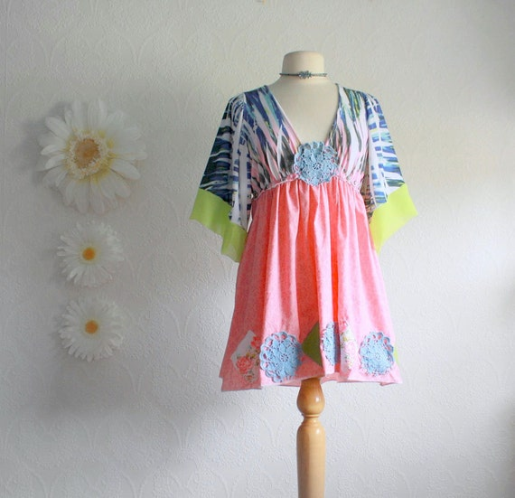 Bohemian Hippie Top Blue Upcycled Shirt Empire Waist Pink Tunic Green Kimono Sleeves Women's Clothing Medium Large 'BREEZY'