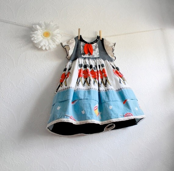 Toddler Girl's Upcycled Dress 3T British England Blue Vintage Fabric Red Soldiers Children's Clothing Eco Friendly 'PIPPA'