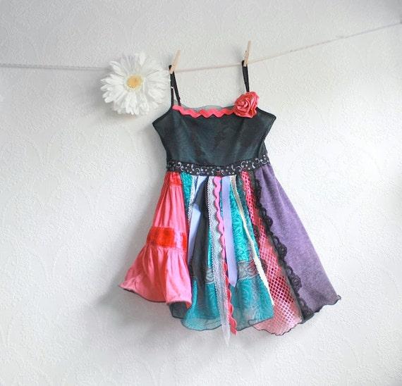 Upcycled Girl's Bohemian Top 8 - 10 Hot Pink Gypsy Shirt Teal Long Tunic Black Lace Spaghetti Straps Childrens Clothing 'MAYA'