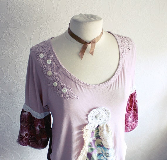 Plum Purple Women's Top Upcycled Clothing Bell Sleeves Tunic Shirt Eco Friendly Clothes Bohemian Style XL XLarge 'SIGRID'