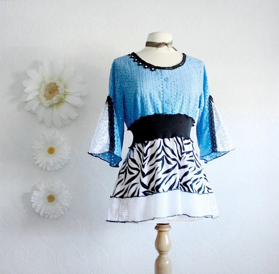 Sky Blue Shirt Black and White Top Ladies Clothing Upcycled Fashion Eco Friendly Bell Sleeves Bohemian Style Women's Medium 'MARINAH'