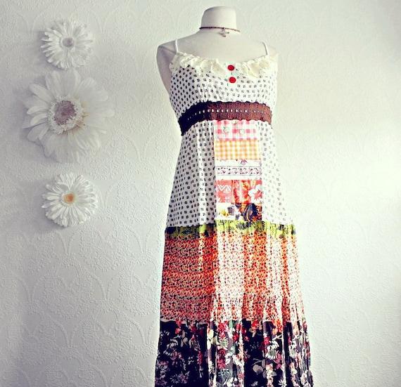 Women's Hippie Maxi Dress 70's Retro Bohemian Sundress Brown Floral Long Dress Upcycled Clothing Orange Patchwork Medium Large 'SAMMIE'