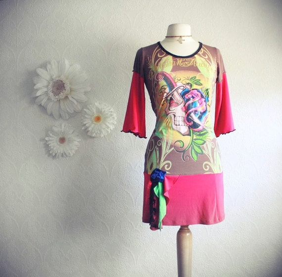 Women's Clothing Upcycled Dress Tattoo Print Retro Style Hot Pink Recycled T-Shirt Ladies Clothes Bohemian Chic Small 'INKED'