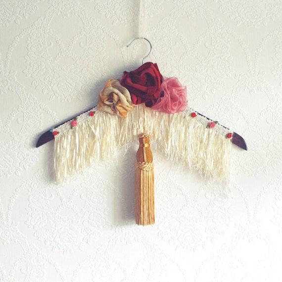 Bohemian Style Clothes Hanger Fringe Gypsy Style Boho Chic Fabric Roses Gold Tassel Shabby Chic Clothing Cyber Monday Etsy