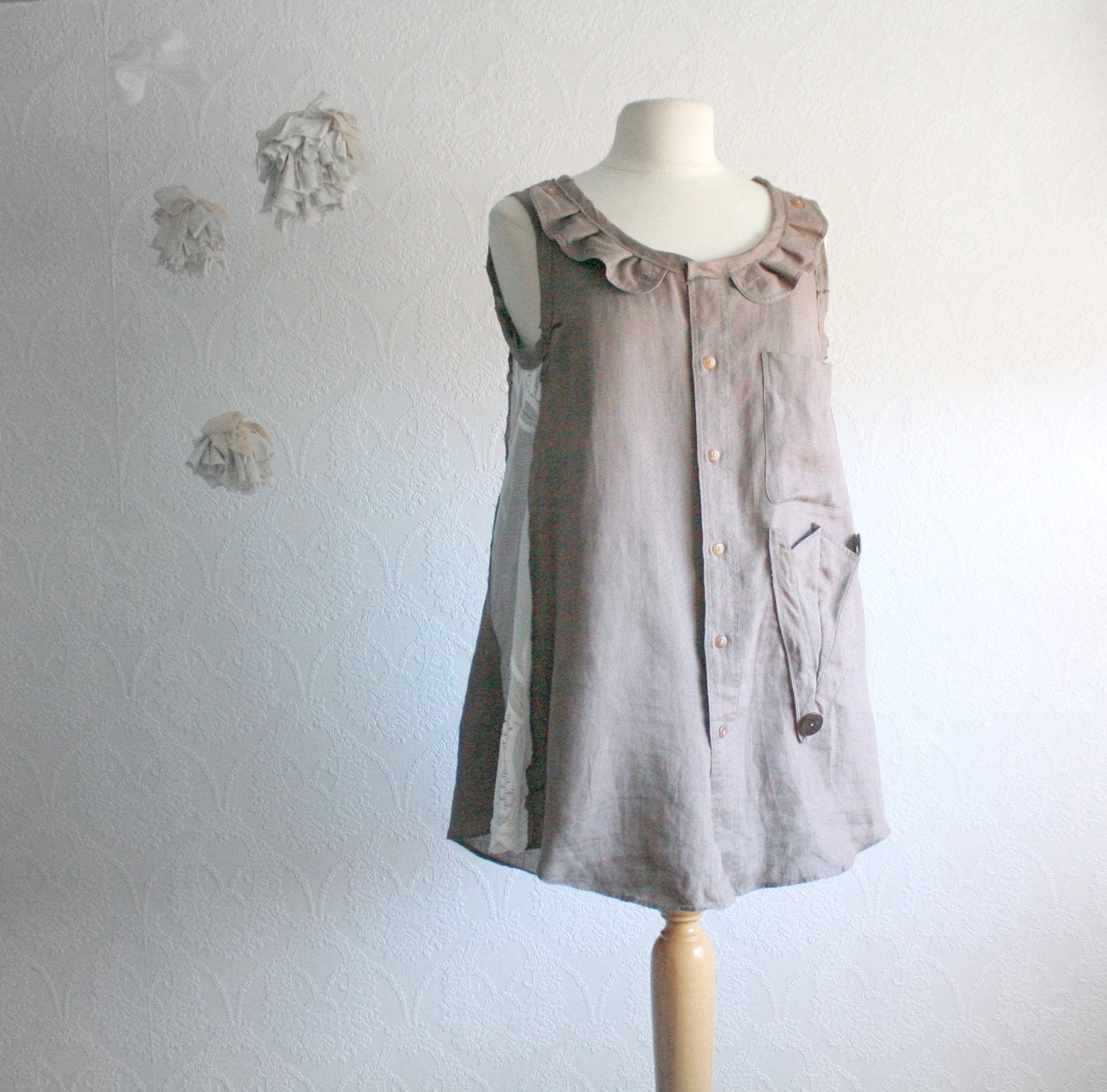 taupe linen blouse upcycled top s clothes eco